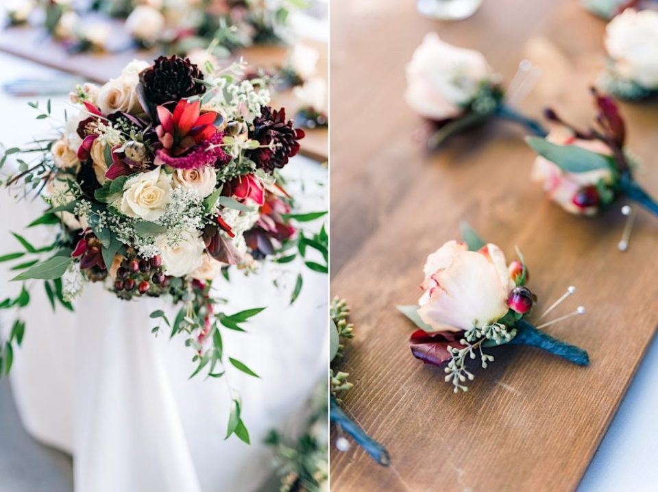 Maroon and Green Bridal Bouquet and boutonniere by Jill Lewko at Philander Chase Knox Estate in Valley Forge