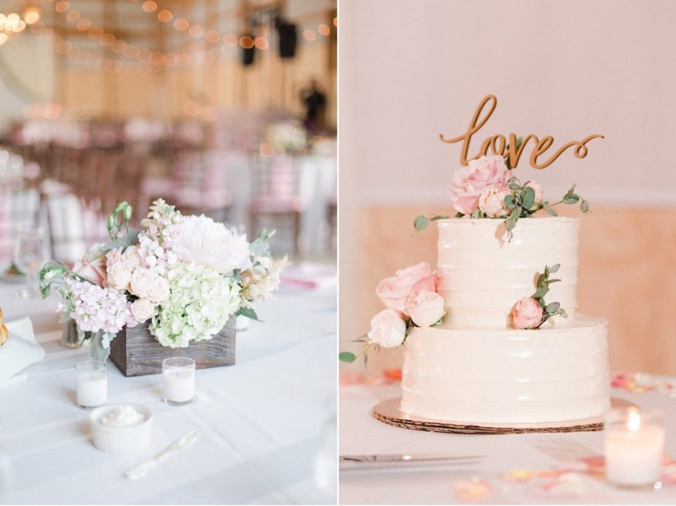 Blush centerpiece and cake by A Garden Party at a backyard wedding in New Jersey