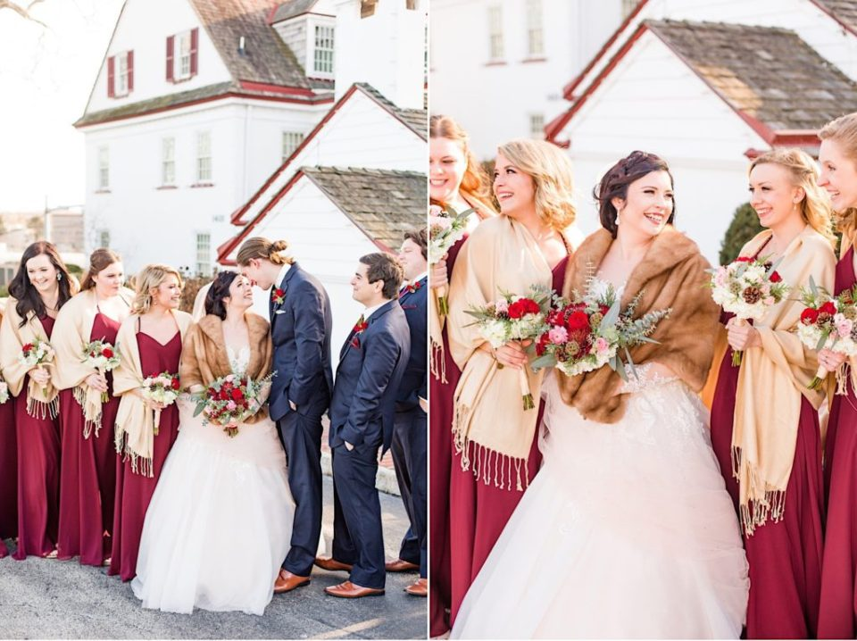 Bridal Party with maroon and green bouquets by Willow and Thistle at Normandy Farm in Blue Bell