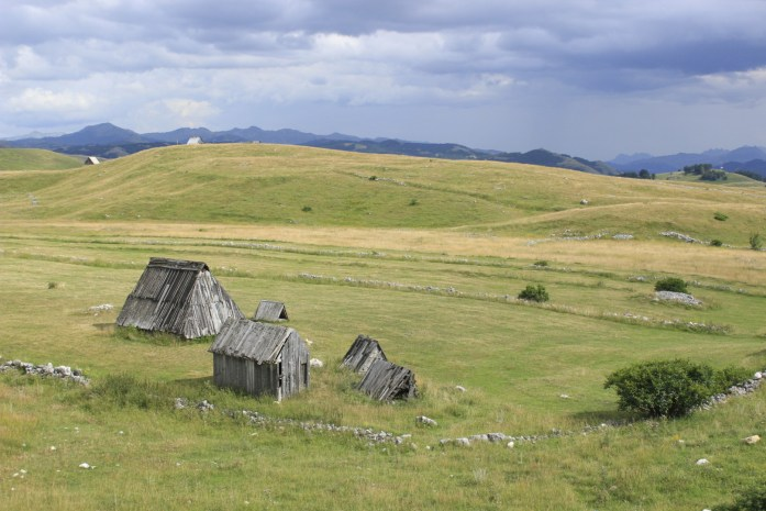 Old farmers huts on mountain plateau of Montenegro.