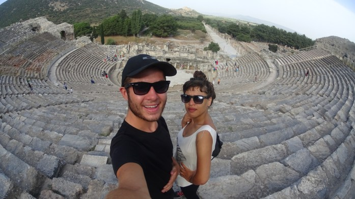 Ephesus Grand Theatre while cycling south-west Turkey.