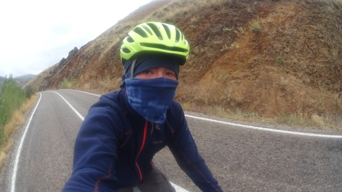 A very cold and difficult bike touring selfie.
