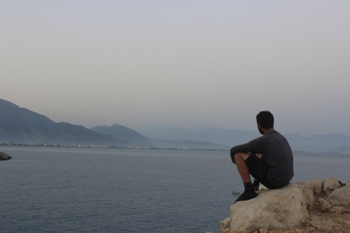 Looking out to the Aegan Sea after a day cycling south-west Turkey.