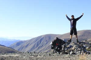 Feeling triumphant after difficult and remote bike climb in Turkey.
