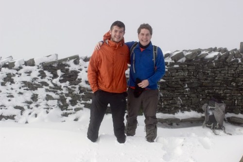 On the mountain summit of Whernside in Yorkshire with deep snow.