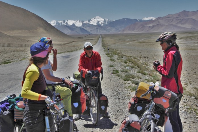 Cyclists talking on the Pamir Highway.
