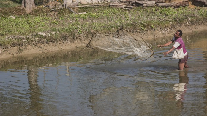 Man fishing in Nepal with fishing net standing in water.
