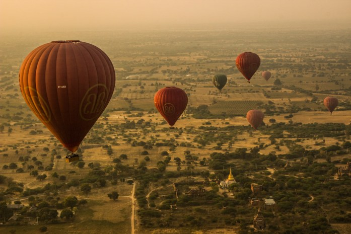 Other hot air balloons in the sky over Bagan, Myanmar
