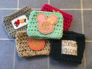 My current collection of coffee cozies
