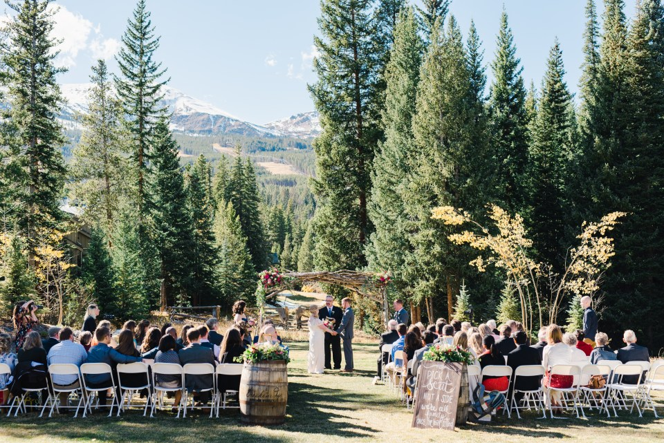 Breckenridge Nordic Center Fall Wedding Ceremony | Josie V Photography