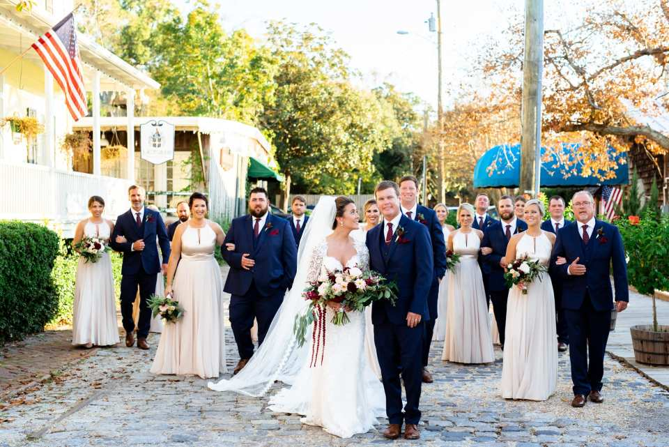 Navy, maroon and Champagne Wedding Party Style | Josie V Photography