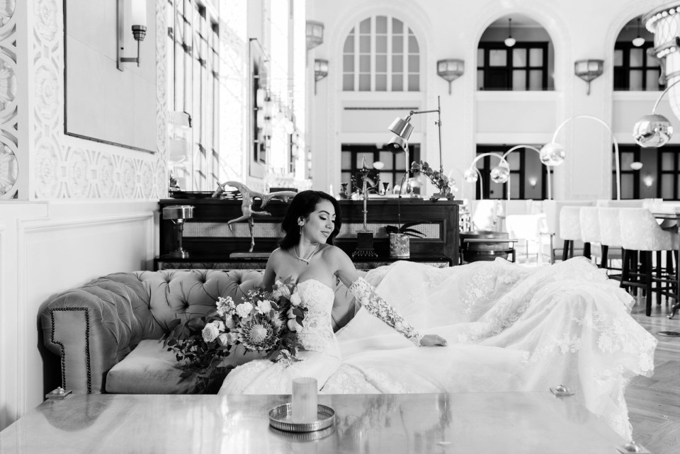 Elegant Bride in the Cooper Lounge at Union Station in Denver, Colorado | Josie V Photography