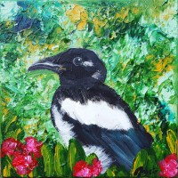Magpie - acrylic painting