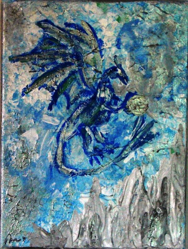 Ice Dragon Acrylic Painting Josipa' Art