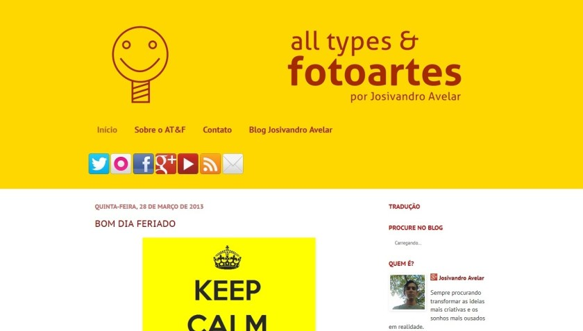 O primeiro layout do All types & Fotoartes.