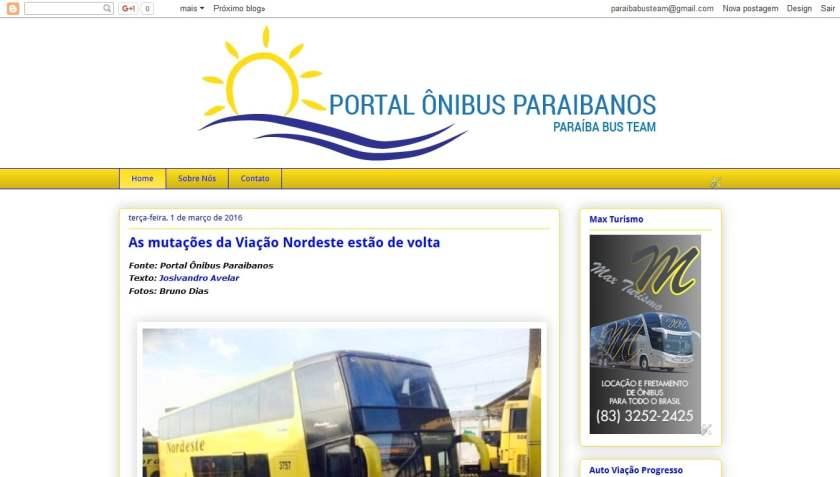 O Portal Ônibus Paraibanos como ele era no Blogger...