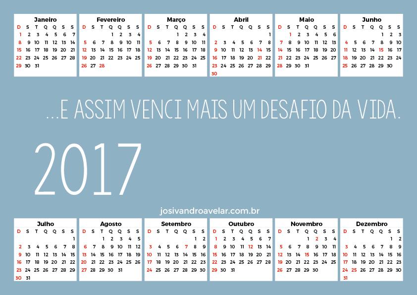 CALENDÁRIO 2017 DESAFIO VENCIDO 4