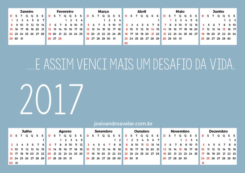 calendário 2017 100