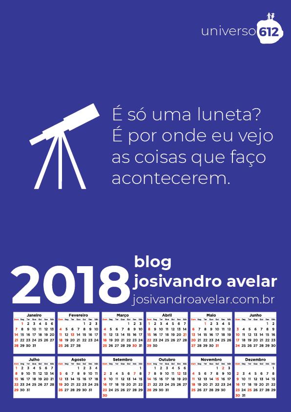 CALENDÁRIO BLOG JOSIVANDRO AVELAR 2018