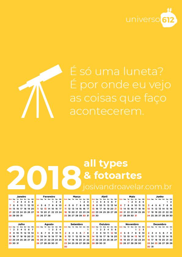 CALENDÁRIO ALL TYPES & FOTOARTES 2018
