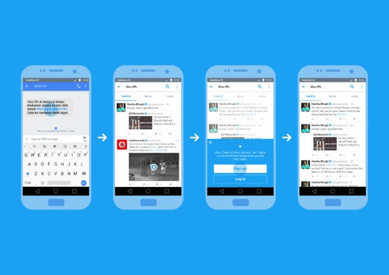 Imagem de quatro celulares com telas do Twitter, em fundo azul.
