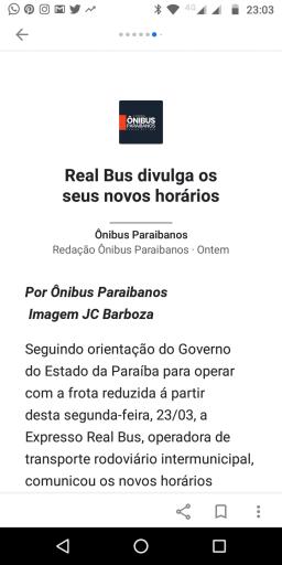 Print de uma notícia do Ônibus Paraibanos no Google Notícias. Fim da descrição.