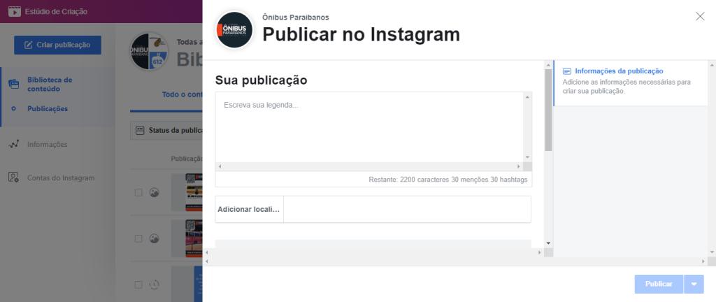 Exibição do agendador de posts do Instagram, mostrando a caixa de texto e localização. Fim da descrição.