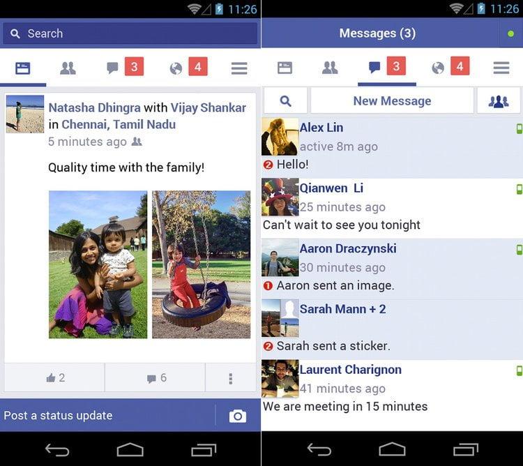 Telas do Facebook Lite. Fim da descrição.