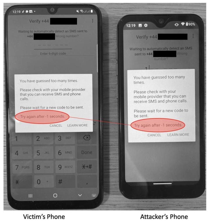 Foto de dois telefones mostrando exploração de brecha do WhatsApp. Fim da descrição.