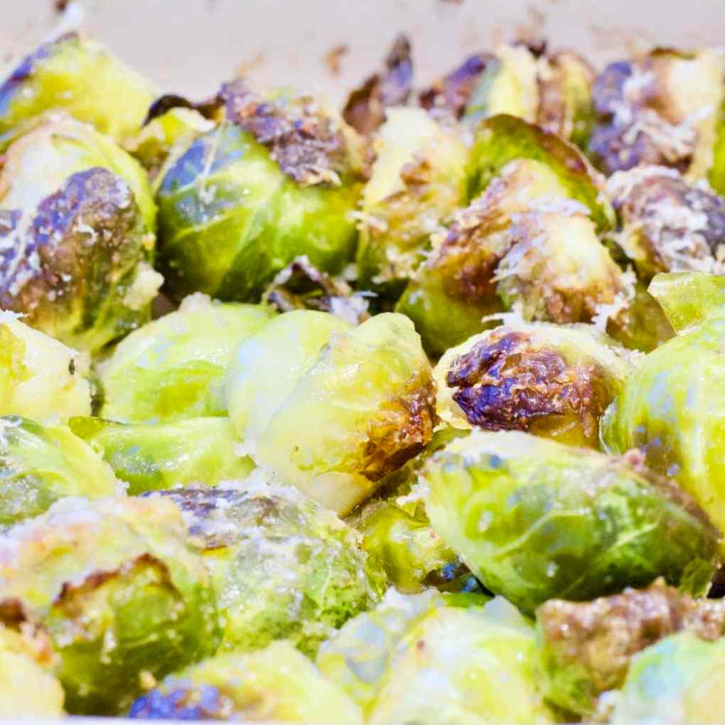 Roasted Brussels Sprouts with Parmesan & Garlic