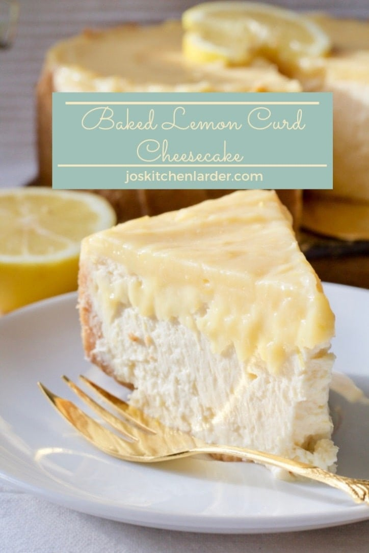 This Baked Lemon Curd Cheesecake is sweet, tangy and beautifully creamy. Perfect treat for fans of cheesecake and lemon curd & easy to make too! #cheesecake #lemoncheesecake #lemoncurd #bakedcheesecake #condensedmilk