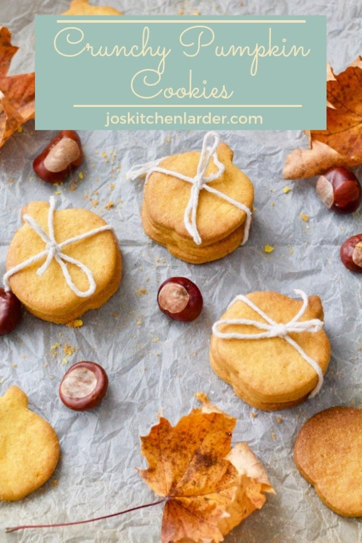 Crunchy Pumpkin Cookies are beautifully buttery, melt in your mouth and tasting of pumpkin and cinnamon! Perfect cookie with a crunch for any occasion! #pumpkincookies #biscuits #pumpkinpuree #halloween