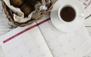 Calendar and coffee