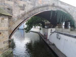 A canal in Prague, beneath the Palace