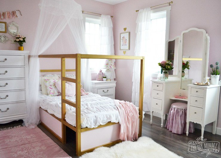 Best A Pink White Gold Shabby Chic Glam Girls Bedroom With Pictures