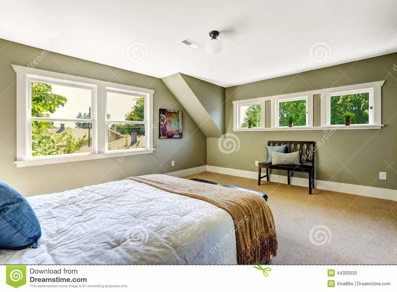 Best Bedroom With Green Walls And Vaulted Ceiling Stock Image With Pictures