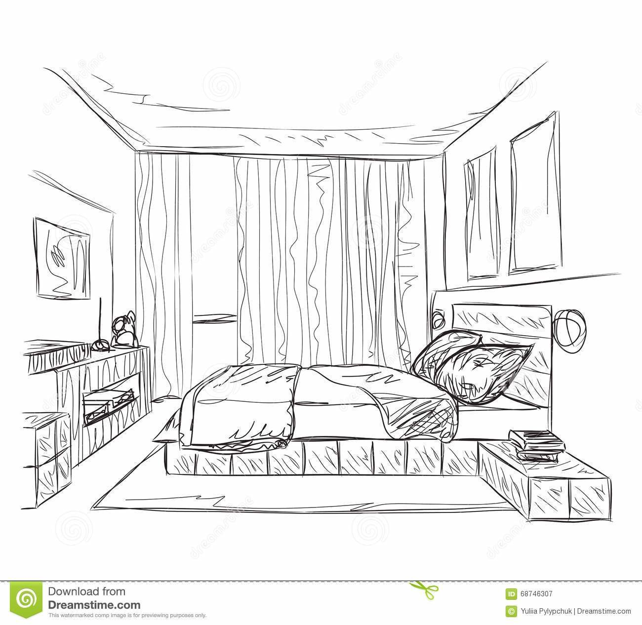 Best Bedroom Modern Interior Sketch Stock Vector Illustration With Pictures