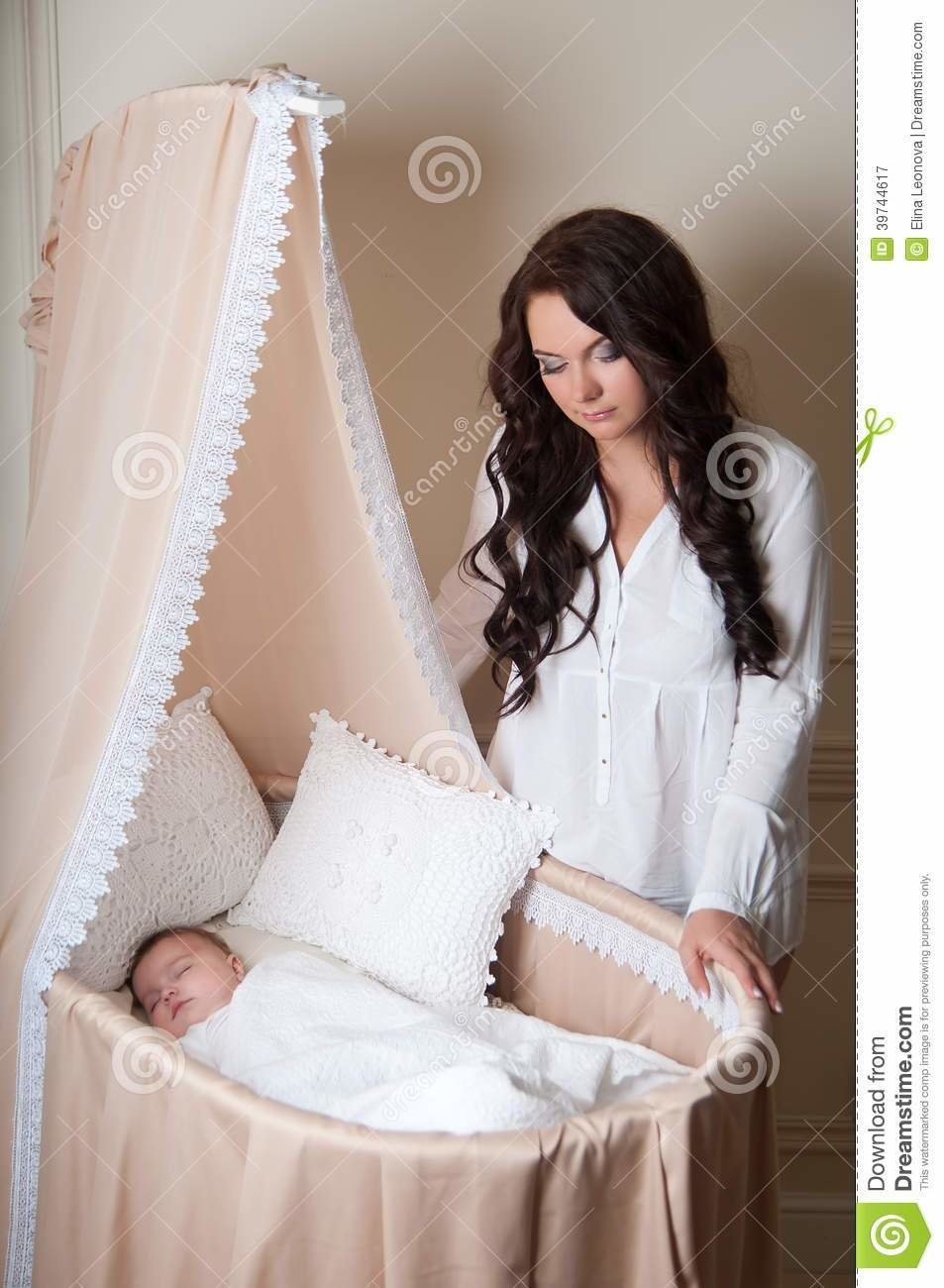 Best Mother With Baby Baby Sleep On Bed Cradle Stock Image Image 39744617 With Pictures