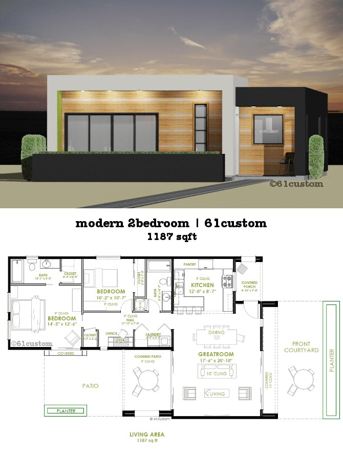 Best Modern 2 Bedroom House Plan 61Custom Contemporary With Pictures