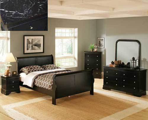 Best Bordeaux Cherry Faux Marble Sleigh Bedroom Set Puritan With Pictures