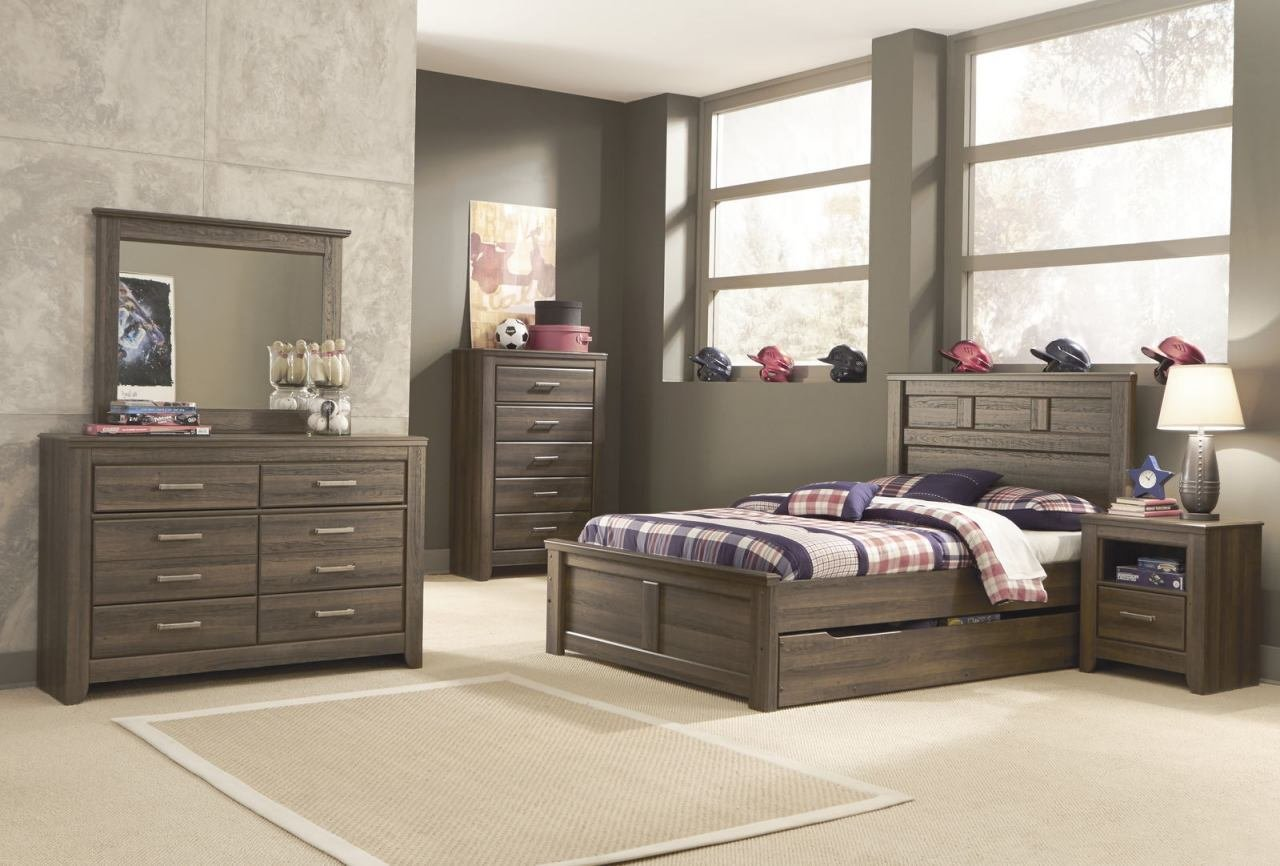 Best Ashley Juararo Panel Bedroom Set With Under Bed Storage In Dark Brown With Pictures