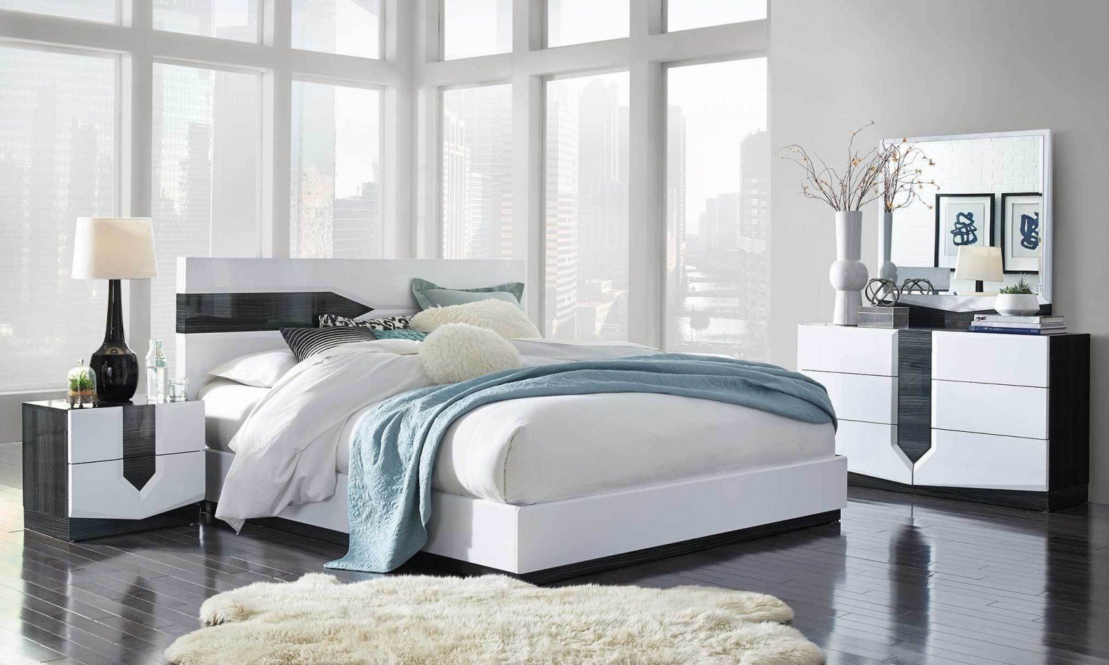 Best Hudson Bedroom Set Zebra Grey White Hg By Global With Pictures