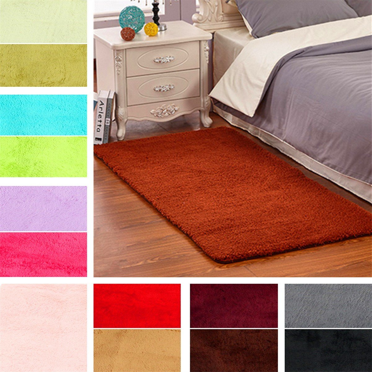 Best 60X120Cm Anti Skid Shaggy Fluffy Area Rug Bedroom Carpet With Pictures