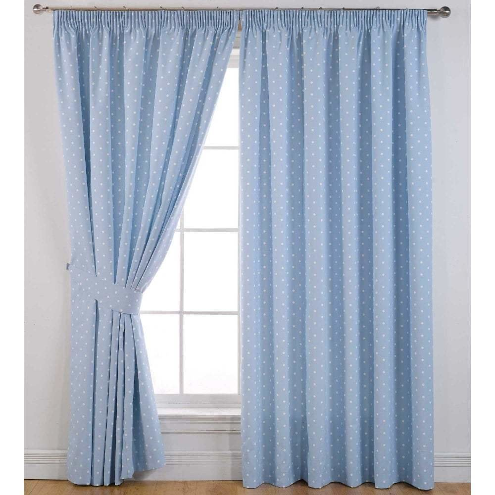 Best Dotty Powder Blue Ready Made Curtains Bedroom Closs With Pictures