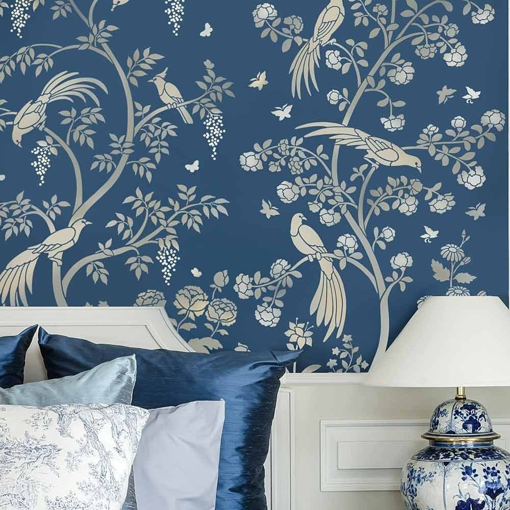 Best Chinoiserie Chic Stencil Chinoiserie Wall Mural Stencils With Pictures