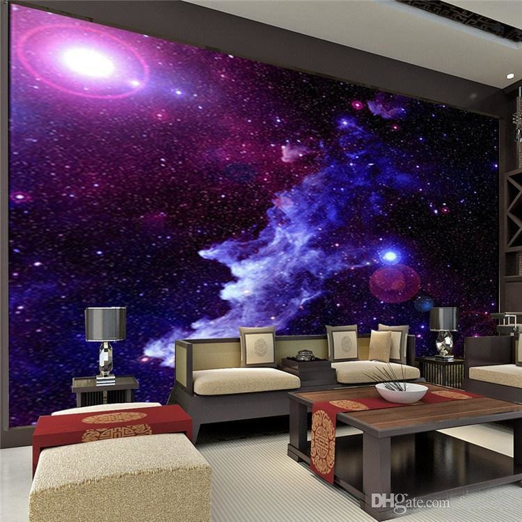 Best Purple Galaxy Wallpaper Mural Photo Giant Wall Decor Paper With Pictures