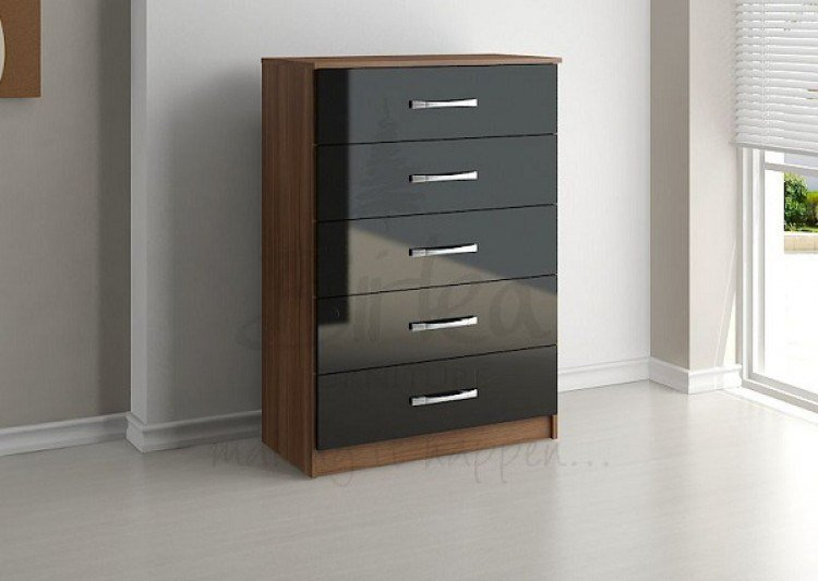 Best Birlea Lynx Walnut With Black Gloss 5 Drawer Chest Of With Pictures