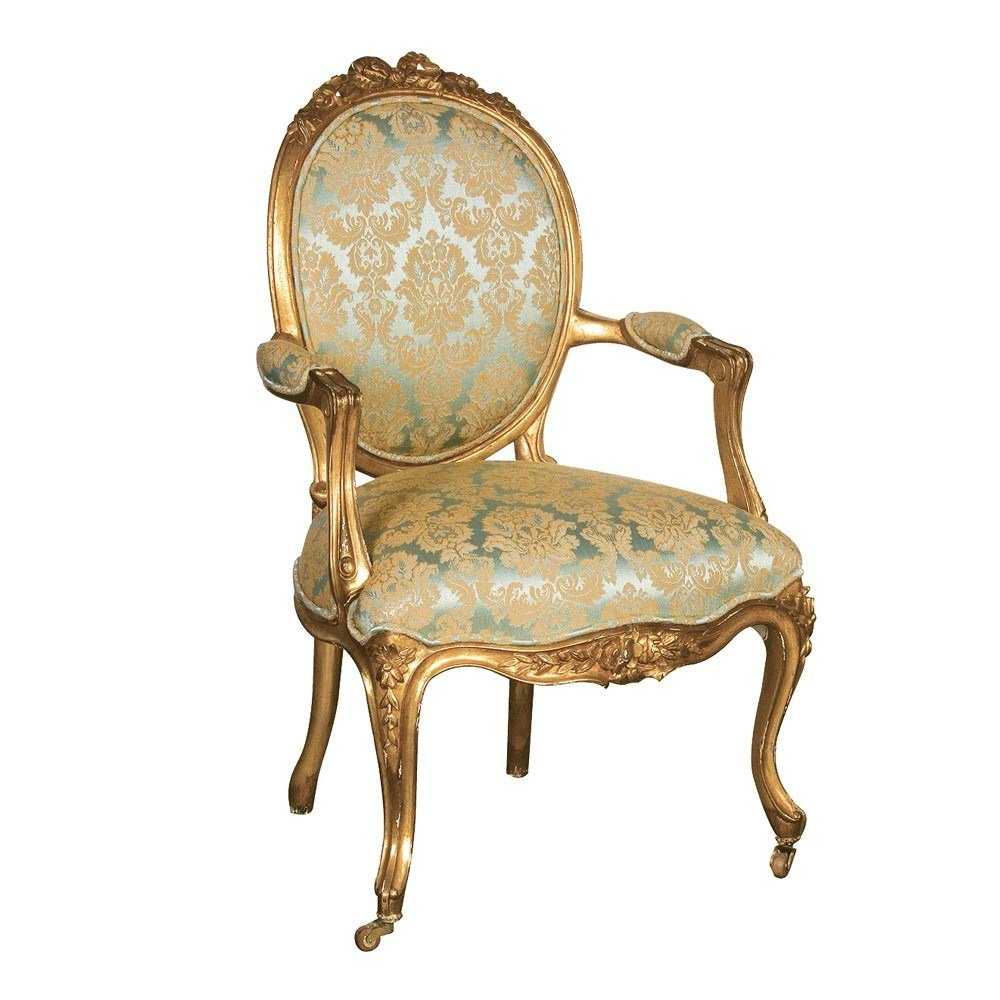Best Versailles Damask Gold Seat Bedroom Chair With Pictures