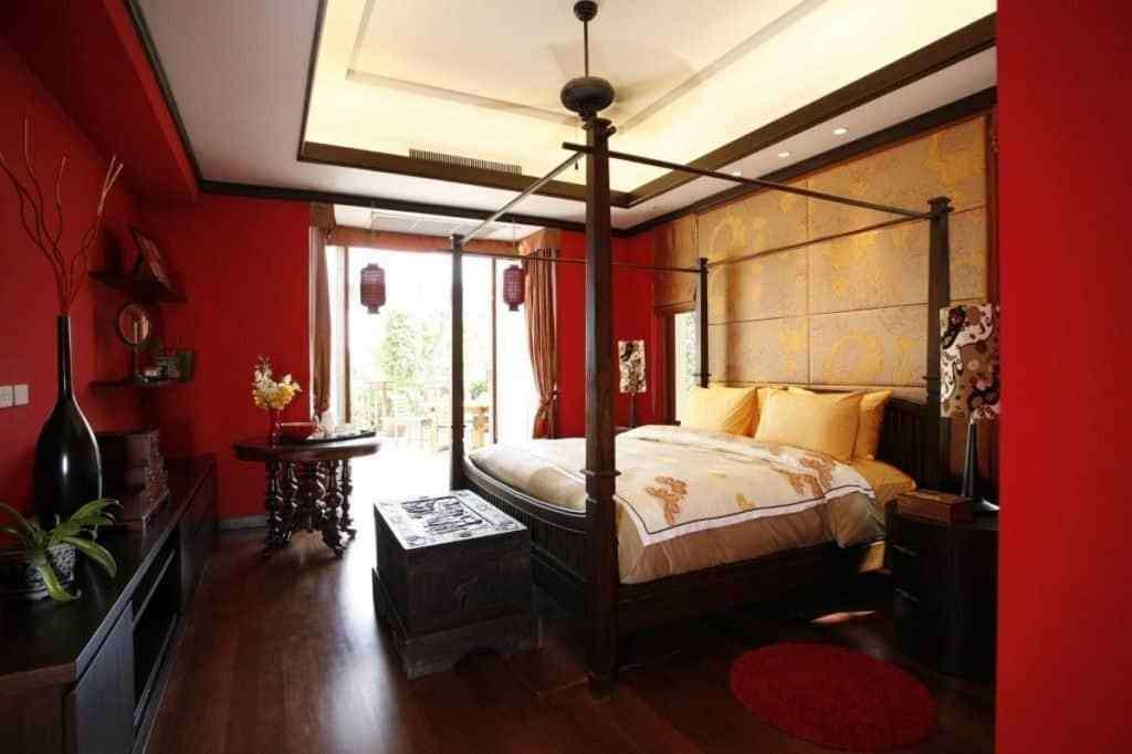 Best Asian Bedroom With Red Wall And Canopy Bed Also Hardwood With Pictures