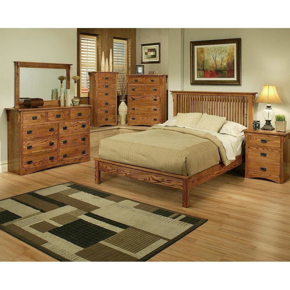 Best Mission Oak Rake Bedroom Set Queen Howard Hill Furniture With Pictures